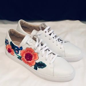 White Leather Embroidered Skechers 10